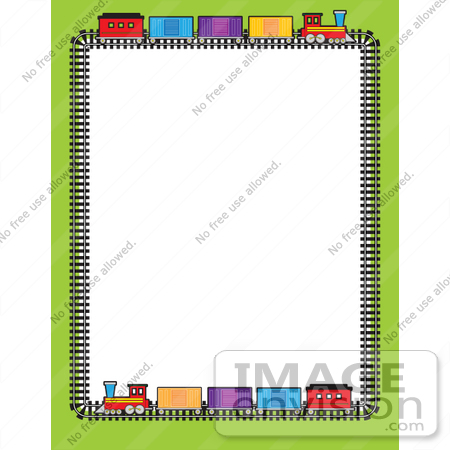 #42306 Clip Art Graphic of a Train Stationery Border by Maria Bell