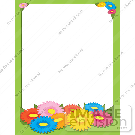 Picture Daisy Flower on Of Clip Art Graphic Of A Colorful Daisy Flower Stationery Border 42307