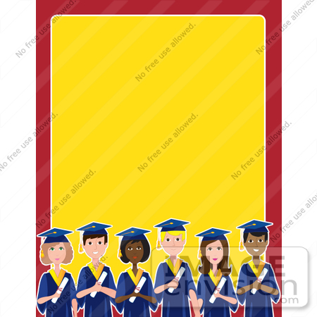 #42310 Clip Art Graphic of a Border Of Diverse Graduates by Maria Bell