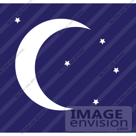 #42315 Clip Art Graphic of a Night Sky With Stars And A Crescent Moon by Maria Bell