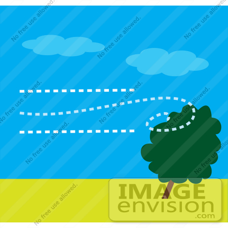 #42318 Clip Art Graphic of Wind Blowing Against A Tree by Maria Bell