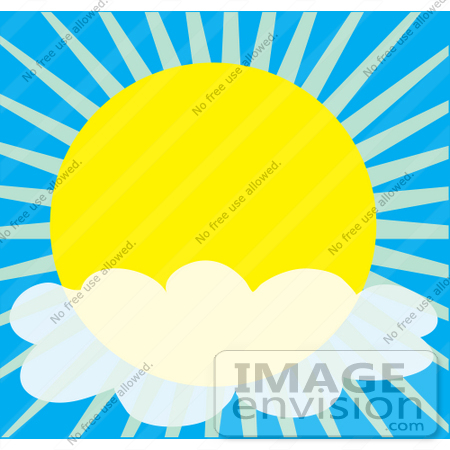 #42322 Clip Art Graphic of a Partly Cloudy Sunny Sky by Maria Bell