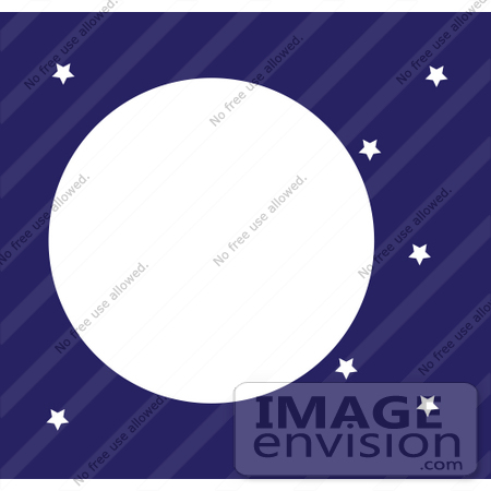 #42325 Clip Art Graphic of a Night Sky With Stars And A Full Moon by Maria Bell