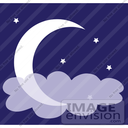#42327 Clip Art Graphic of a Night Sky With Clouds, Stars And A Crescent Moon by Maria Bell
