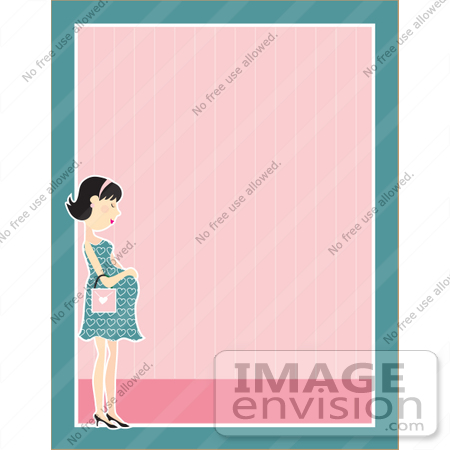 #42329 Clip Art Graphic of a Pregnant Woman Border by Maria Bell