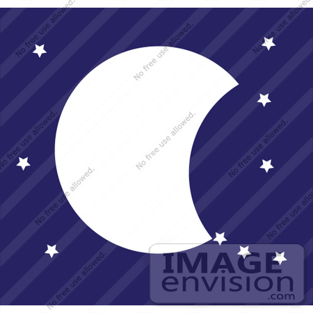 #42330 Clip Art Graphic of a Night Sky With A Partial Moon And Stars by Maria Bell