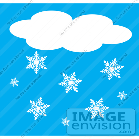 #42331 Clip Art Graphic of a Blue Sky With A Cloud And Snowflakes by Maria Bell