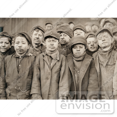 #42335 Stock Photo of a Group Of Exhausted And Dirty Coal Miner Boys Posing For A Portrait In 1911 by JVPD