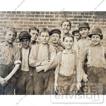 #42338 Stock Photo of a Group Of Doffer Boy Laborers At The Georgia Cotton Mill In 1909 by JVPD