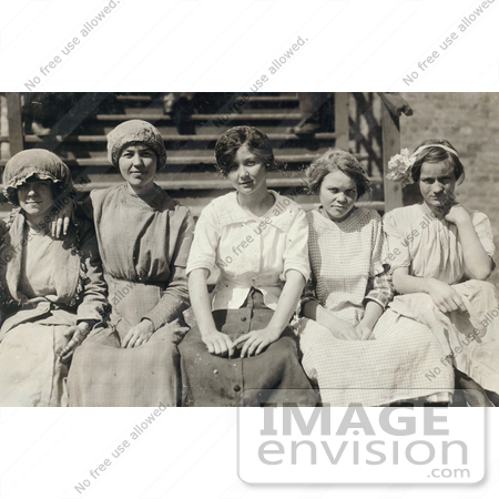 #42339 Stock Photo of a Group Of Five Young Mill Worker Girls Taking A Break In 1913 by JVPD