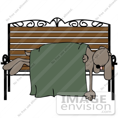 #42346 Clip Art Graphic Of a Dog Sleeping on a Bench by DJArt