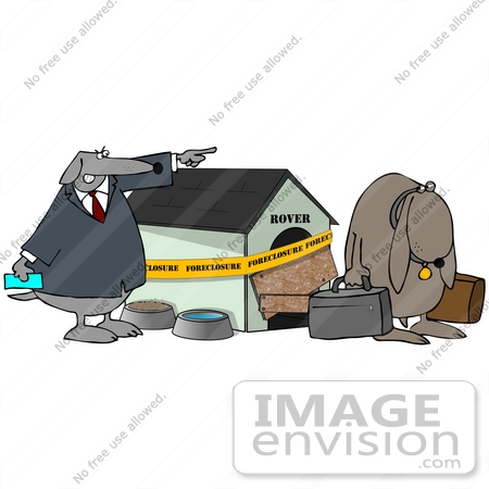 Clip Art Graphic Of a Sad Dog Being Kicked Out Of His Foreclosed ...