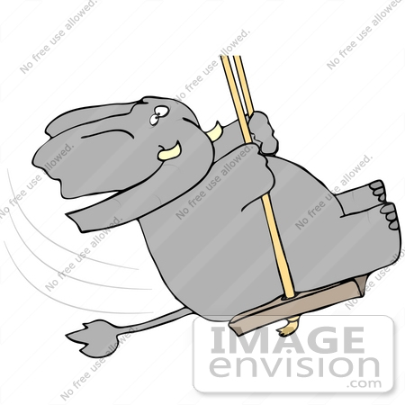 #42352 Clip Art Graphic of an Elephant Swinging by DJArt
