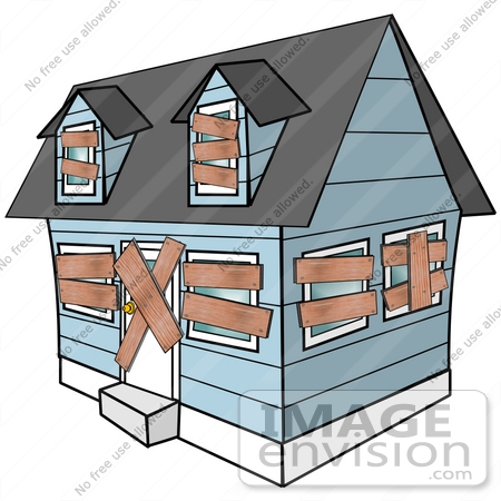 #42358 Clip Art Graphic Of A Foreclosed Home With Boarded Up Windows And Doors by DJArt