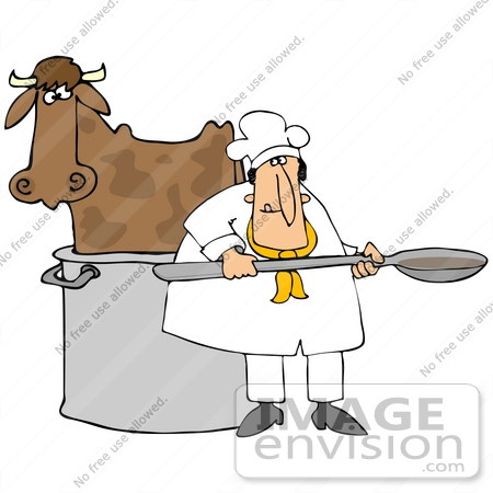 #42363 Clip Art Graphic of a Cow In A Chef's Pot by DJArt