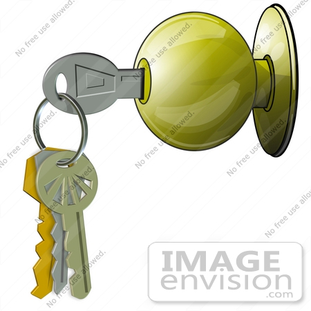 free clipart door. #42374 Clip Art Graphic of a Door Knob And Keys by DJArt