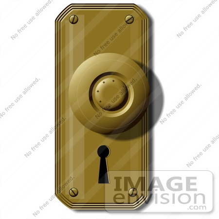 Clip Art Graphic of an Old Fashioned Door Knob And Key Hole 42376