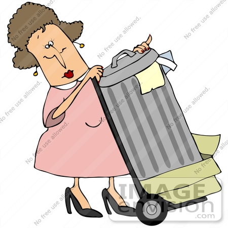 #42379 Clip Art Graphic of a Lady Rolling Garbage To The Curb by DJArt