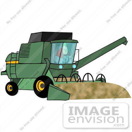 #42381 Clip Art Graphic of a Farmer Driving A Harvester by DJArt