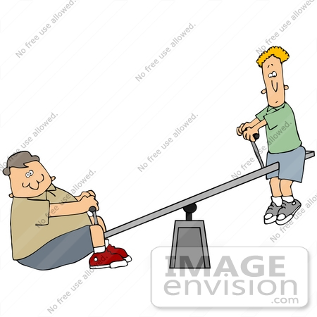 #42388 Clip Art Graphic of Two Boys, Skinny And Chubby, Playing On A Teeter Totter by DJArt