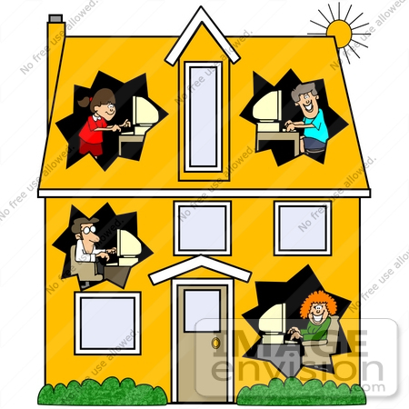 #42389 Clip Art Graphic of Parents And Their Children In Different Rooms Of A House, Using Computers by DJArt