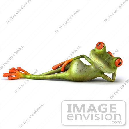 #42740 Royalty-Free Clipart Illustration of a Relaxed 3d Red-Eyed Tree Frog With Big Red Eyes Reclining by Julos