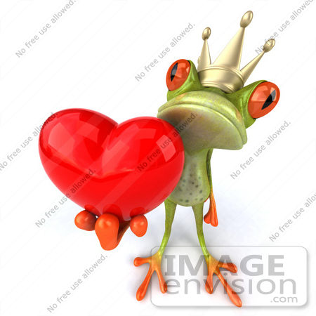 #42747 Royalty-Free Clipart Illustration of a Romantic 3d Red-Eyed Frog Prince Wearing A Crown And Holding A Red Heart by Julos