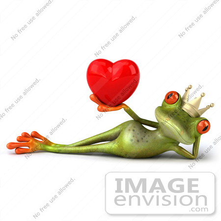 #42750 Royalty-Free Clipart Illustration of a Reclined 3d Red-Eyed Frog Prince Wearing A Crown And Holding Up A Red Heart by Julos