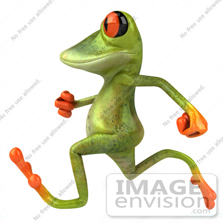 #42755 Royalty-Free Clipart Illustration of a Cute 3d Red-Eyed Tree Frog Running Or Jogging By by Julos