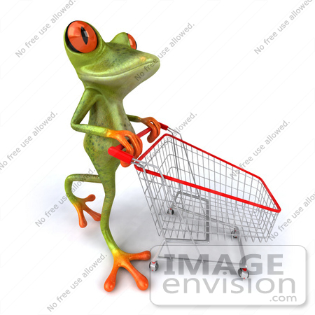 #42762 Royalty-Free Clipart Illustration of a Shopping 3d Red-Eyed Tree Frog Pushing A Cart by Julos