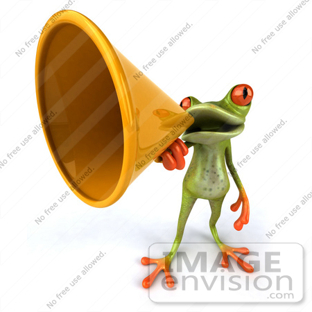 #42861 Royalty-Free (RF) Clipart Illustration of a 3d Red Eyed Tree Frog Speaking Through A Megaphone - Pose 4 by Julos