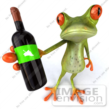 #42870 Royalty-Free (RF) Clipart Illustration of a 3d Red Eyed Tree Frog Holding A Bottle Of Wine - Pose 3 by Julos