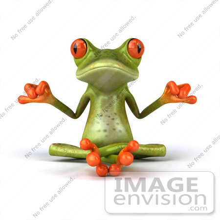 #42885 Royalty-Free (RF) Clipart Illustration of a 3d Red Eyed Tree Frog Meditating - Pose 1 by Julos