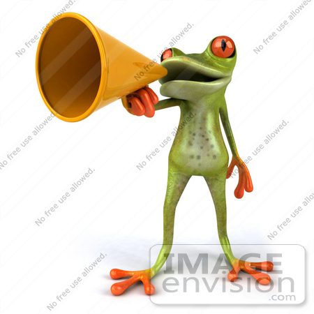 #42893 Royalty-Free (RF) Clipart Illustration of a 3d Red Eyed Tree Frog Speaking Through A Megaphone - Pose 1 by Julos