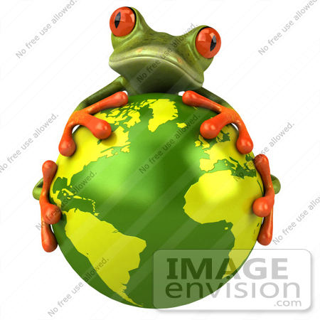 #42903 Royalty-Free (RF) Clipart Illustration of a 3d Red Eyed Tree Frog Hugging The Planet - Pose 1 by Julos