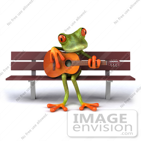 #42912 Royalty-Free (RF) Clipart Illustration of a 3d Red Eyed Tree Frog Playing A Guitar On A Park Bench - Pose 1 by Julos