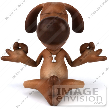 #42920 Royalty-Free (RF) Cartoon Clipart of a 3d Brown Dog Mascot Meditating - Pose 1 by Julos