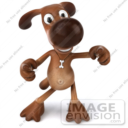 #42961 Royalty-Free (RF) Clipart Illustration of a 3d Brown Dog Mascot Doing His Happy Dance - Pose 2 by Julos