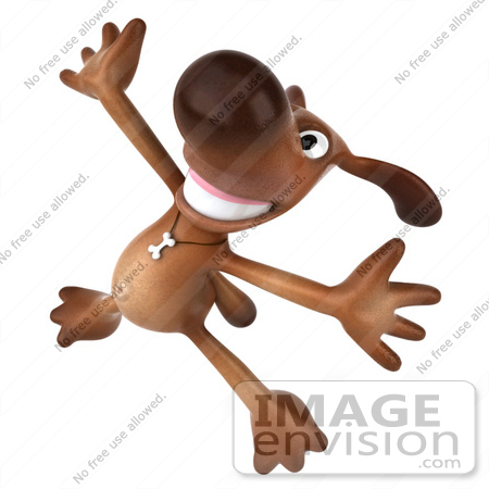#42974 Royalty-Free (RF) Clipart Illustration of a 3d Brown Dog Mascot Doing His Happy Dance - Pose 4 by Julos