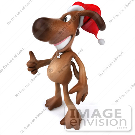 #42975 Royalty-Free (RF) Clipart Illustration of a 3d Brown Dog Mascot Waring A Santa Hat And Giving The Thumbs Up - Pose 2 by Julos