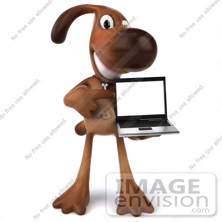 #42980 Royalty-Free (RF) Clipart Illustration of a 3d Brown Dog Mascot With A Laptop - Pose 2 by Julos
