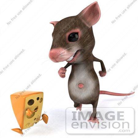 #42999 Royalty-Free (RF) Cartoon Clipart Illustration of a 3d Mouse Mascot Chasing A Wedge Of Cheese - Version 1 by Julos