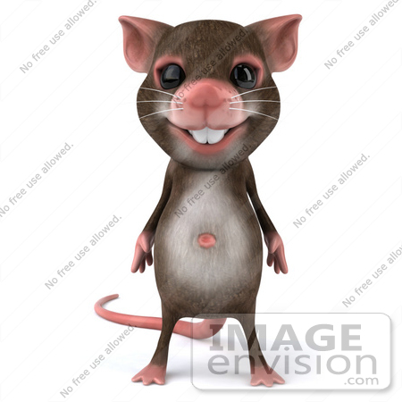 #43009 Royalty-Free (RF) Cartoon Clipart Illustration of a 3d Mouse Mascot Standing And Facing Front by Julos