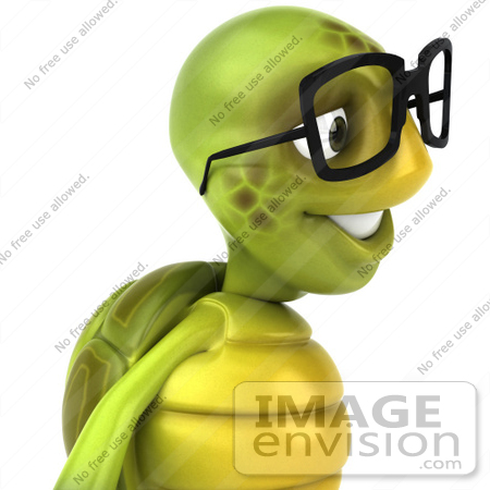 #43033 Royalty-Free (RF) Cartoon Clipart of a 3d Turtle Mascot Wearing Spectacles and Facing Right by Julos