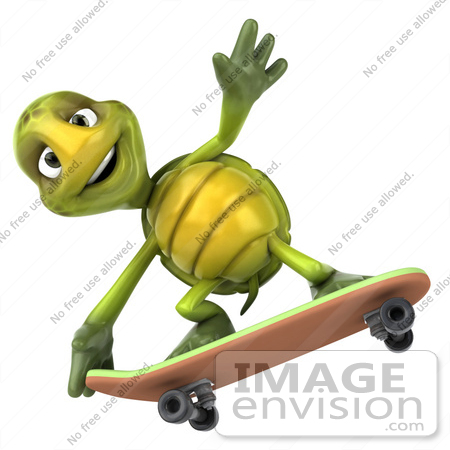 #43040 Royalty-Free (RF) Cartoon Clipart of a 3d Turtle Mascot Skateboarding - Version 4 by Julos