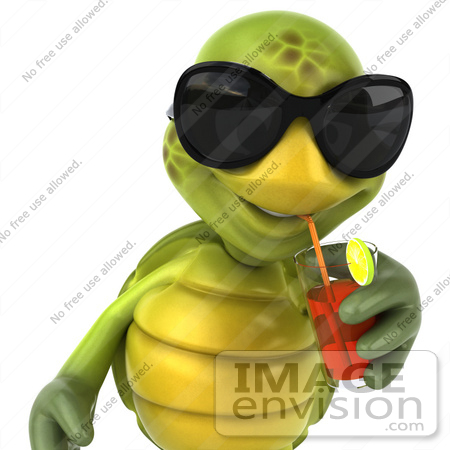 #43046 Royalty-Free (RF) Cartoon Clipart of a 3d Turtle Mascot Wearing Dark Shades And Drinking Fruit Punch by Julos