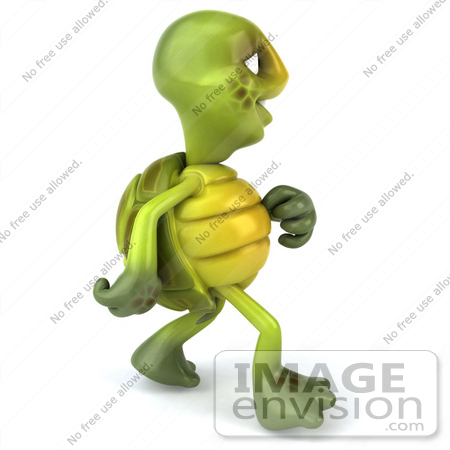 cartoon people walking away. a 3d Turtle Mascot Walking