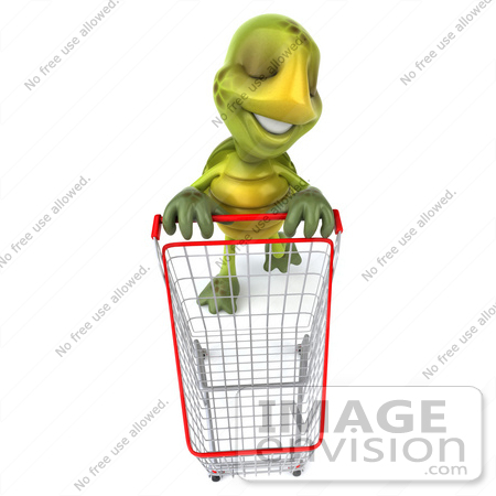 #43066 Royalty-Free (RF) Cartoon Clipart of a 3d Turtle Mascot In A Store With A Shopping Cart by Julos