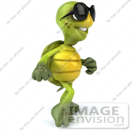 #43072 Royalty-Free (RF) Cartoon Clipart of a 3d Turtle Mascot Wearing Dark Sunglasses and Walking by Julos
