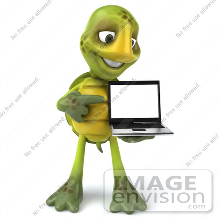 #43076 Royalty-Free (RF) Cartoon Clipart of a 3d Turtle Mascot Standing And Pointing To A Laptop by Julos